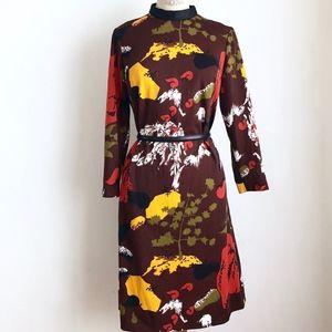 Vintage midi brown midi dress fall leaves novelty